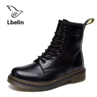 Fashion Online Women Boots Doc Martins 2017 British Dr Martins Vintage Classic Genuine Martin Boots Female Thick Heel Motorcycle Women's Shoes