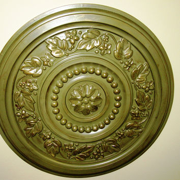 "Antiqued Wall or Ceiling Medallion, 17"" Ceiling Medallion, Ornate Medallion, ceiling medallion"