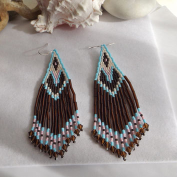 Seed Bead Handwoven Southwestern, Native Style, Dangle, Chandelier Fringe Earrings in Brown, Blue, Pink, and Swarovski Crystals Gift for Her
