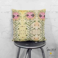 Floral Art Throw Pillow 'Floral Sisters 02'