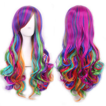 Long Curly Wavy Multi Rainbow Color Anime Cosplay Lolita Carnival Wig For Women,Colorful Candy Colored synthetic Hair Extension Hair Wig