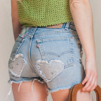 RARE Patched 80s Levi 501 High Waisted Shorts 24 25 | Vintage Faded Light Wash Cutoff Jean Shorts | Distressed 90s Grunge Faded Denim Levi