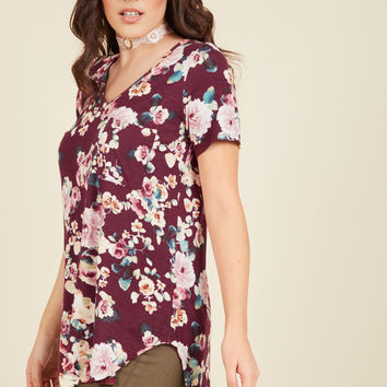 Packing Preserves Top in Burgundy Floral | Mod Retro Vintage Short Sleeve Shirts | ModCloth.com