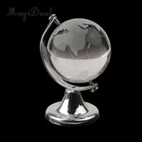 MagiDeal Silver Stand Crystal  World Globe Wedding Gift Paperweight Vastu Feng shui Hanging Balls Ornaments Globe Toy Souvenirs
