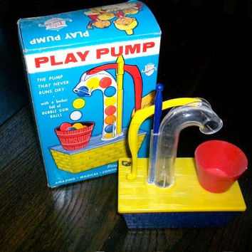 Vintage 1960s Toy Play Pump Bubble Gum Machine by RedRiverAntiques