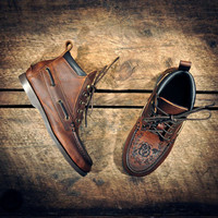 Handcrafted HIGHTOP Leather Boat Shoes - Distressed Oiled Dark Tan Cowhide & Etched Roses - Dark Brown CUFF