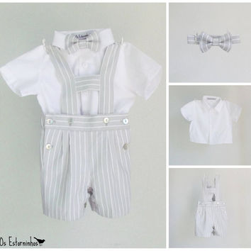 Boys outfit - Gray pinstripe cotton shortalls with H bar suspenders, bow tie and white shirt - 3-piece set