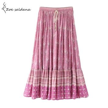 Zoe Saldana 2017 Vintage Print Long Skirts High Waist Pleated Skirt Women Summer Beach Boho Maxi Skirt