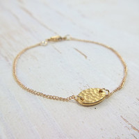 Petite Gold Bracelet - Minimalist Everyday Jewelry - Hammered Oval