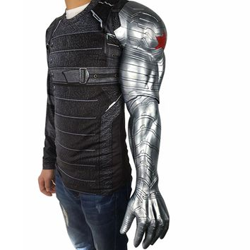 2018 New Winter Soldier Arm Captain America 3 Bucky Barnes Arm Armour Cosplay Avengers High Level Latex Man Hot Sale