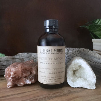 Desert Moon Bath + Body Oil • Massage Oil • sore muscles and pain • arnica, sage, lemon • organic ingredients • 4oz (120ml) glass bottle