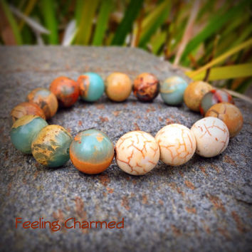 Aqua Terra Jasper Beaded Bracelet, Blue and Brown Bead Bracelet, Yoga Bracelet, Jasper Beads, Gemstones, Radiance from the Earth Collection
