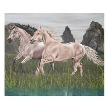 Buckskin and Palomino Horse Fleece Blanket