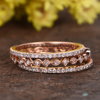 Diamond Wedding Ring Sets 14K Rose Gold Anniversary Ring Full Eternity Art Deco Stacking Band