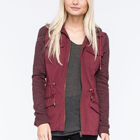 Full Tilt Marled Womens Anorak Jacket Burgundy  In Sizes
