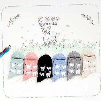Cute Love Women Socks Solid Candy Colors Sweet Alpacas  Short Sock Spring&AutumnThin Ankle Invisible Socks For Girl