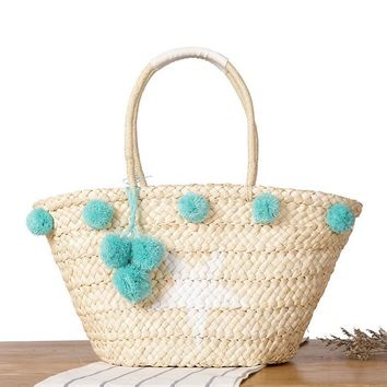 Bohemian Straw Bag Summer Beach Handbag Women Star Shopping Tote Ful Ball Handmade Woven Travel Shoulder Bags Purse Bolsa
