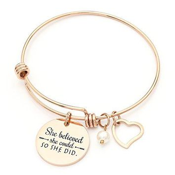 She believed she could so she did Stainless Steel Inspirational Expandable Wire Bangle Bracelets With Message Charm For Women  Rose Gold
