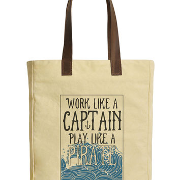 Work Like A Captain Play Like A Pirate Beige Canvas Bags Leather Handles WAS_30