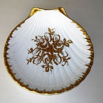 Vintage Porcelain Shell Serving Bowl France, hand painted gilding, white seashell bowl gold rose design, clam shell bowl