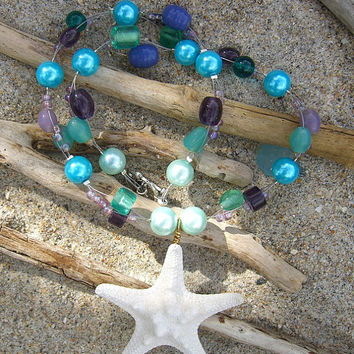 Starfish Beach Mermaid Necklace Aqua Blue Pearls and Sea Glass