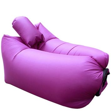 Inflatable Air Sofa with Pillow Sleeping Bag Laybag Lazy Bed Air Chair Lounger
