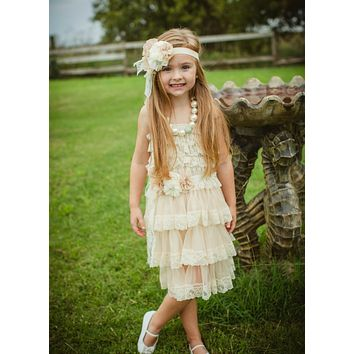 286dd234d Rustic Chic Champagne Lace Flower Girl Dress Dress
