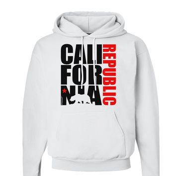 California Republic Design - California Red Star and Bear Hoodie Sweatshirt  by TooLoud