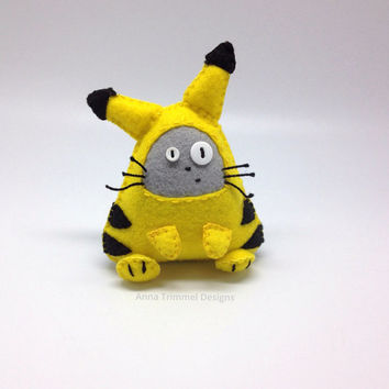 Totoro dressed up as Pikachu handmade in felt decorative toy