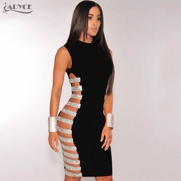 Elegant Woman Dress Sexy Hollow Out Side Striped Beads Embellished Mini Bandage Dress Evening Party Dresses Vestidos