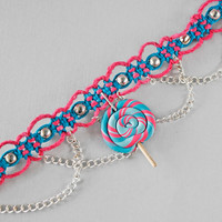 Lollipop Hemp Choker: Neon Pink Hemp and Turquoise Hemp, Polymer Clay Lollipop Pendant