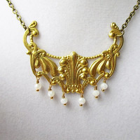Orante Gold Brass & Dangly White Crystal Necklace, Boho Chic