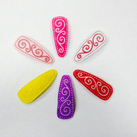 Felt Snap Clips With Swirly Design Choose Your Color