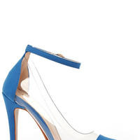 In the Clear Future Blue Lucite Heels