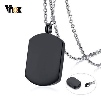 Vnox Mens Cremation Urn Necklace Black Stainless Steel Dog Tag Pendant Memorial Cherish Love Gifts Jewelry
