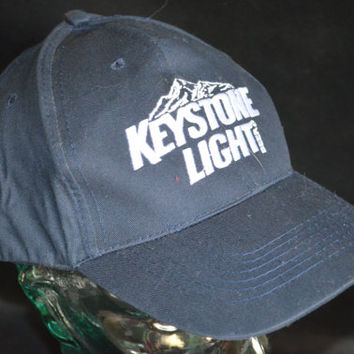 Vintage KEYSTONE LIGHT Adjustable Beer Baseball Cap Hat (One Size Fits All)