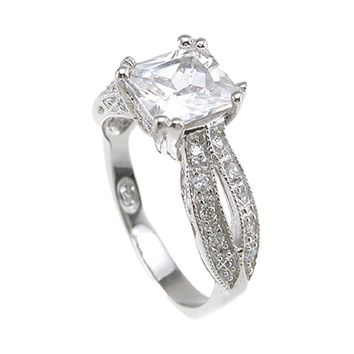 Plutus Brands 925 Sterling Silver Rhodium Finish CZ Princess Antique Style Wedding Ring- Size 7