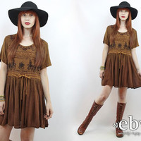 Vintage 90s Brown Embroidered Mini Dress S M Babydoll Dress Embroidered Dress Hippie Dress Hippy Dress Boho Dress Festival Dress