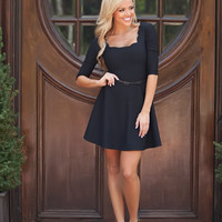 Scalloped Belted Dress Black