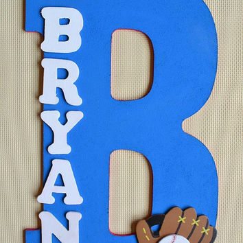 """BASEBALL- Theme- Personalized 13.5"""" Hand Painted Wooden Letter Initial Hanging Wall Art With Name"""