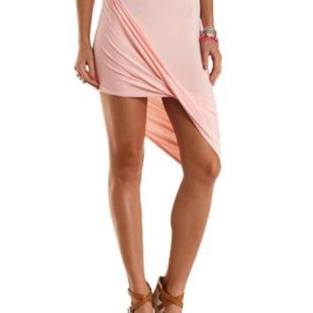 Pink Draped Asymmetrical Skirt by Charlotte Russe