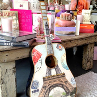 Paris, France Acoustic Guitar - Eiffel Tower & Gold Trim, Vintage Guitar, Music Wall Art, Blue Wood