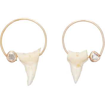 Polki Diamond & Shark Tooth Hoop Earrings