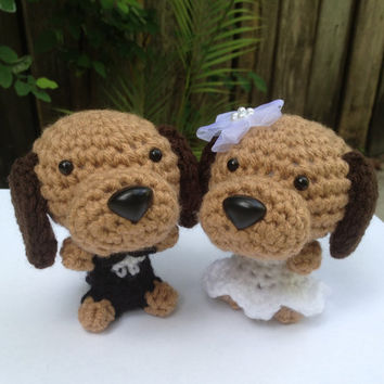 Wedding Gift Bride and Groom Amigurumi Dogs Handmade by Inugurumi