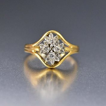 14K Yellow Gold 1/4ct Diamond Flower Cluster Ring