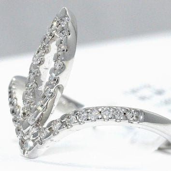 18Kt White Gold Marquise Loop .32 Carat Diamond Ring Size 7