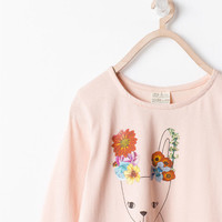 Animals with flowers t-shirt