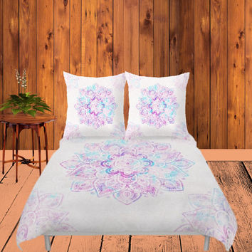 Duvet Cover - 4 different sizes, Without Insert, Bedroom, Home decor, Teal, Turquoise, With or Without Shams, Green, Abstract, Boho, Mandala