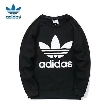 Adidas Fashionable Men Women Leisure Clover Print Long Sleeve Round Collar Sweater Pullover Top Sweatshirt Black