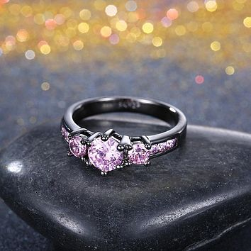 Pink Sapphire 3 Stone Black Gun Plating Midi Ring 925 Sterling Silver Unique Casual Rings